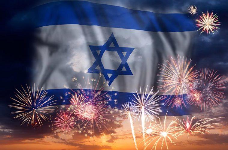Israelsk-flagg-fyrverkeri